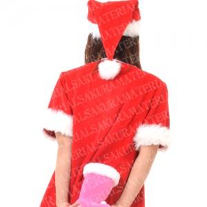 「ピンクのブーツのサンタの女の子01」の女子向け無料素材