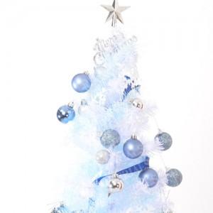 「白と青のクリスマスツツリー01」の女子向け無料素材