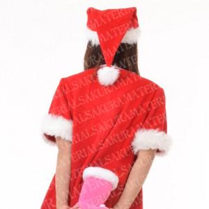 「クリスマスブーツを持ったサンタの女の子01」の女子向け無料素材