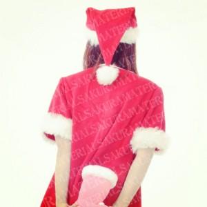 「クリスマスブーツを持ったサンタの女の子02」の女子向け無料素材